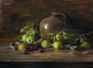 Arrangement with Pears on the Branch, 24x30