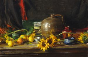 arrangement with sunflowers and lemons, 24x48, $12,500