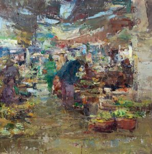 Hue Market, 24x24, oil on linen