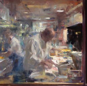 Mizuna Kitchen - Atmospheric(lighter), 20x20, oil on linen